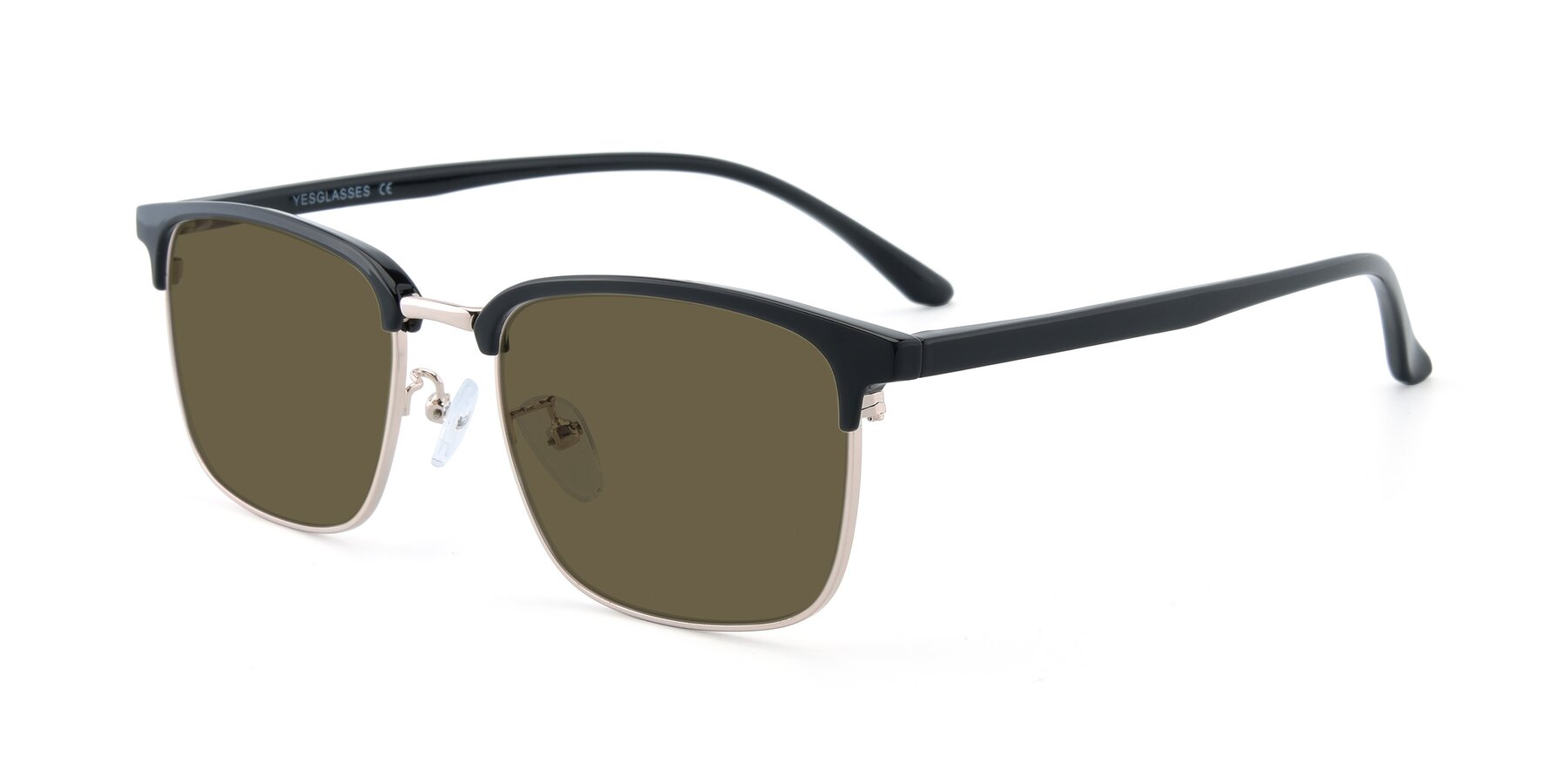 Angle of 00340 in Black-Gold with Brown Polarized Lenses