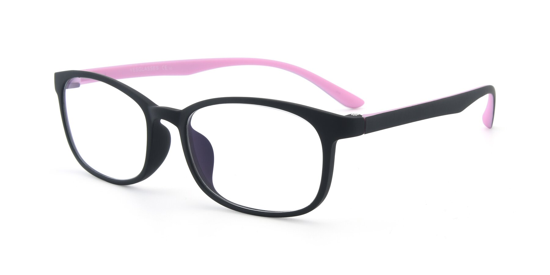 Angle of 9805 in Matte Black-Pink with Clear Eyeglass Lenses