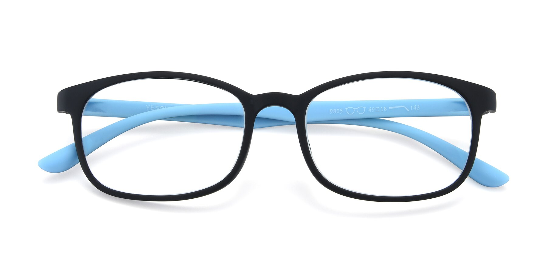 Folded Front of 9805 in Matte Black-Blue with Clear Eyeglass Lenses