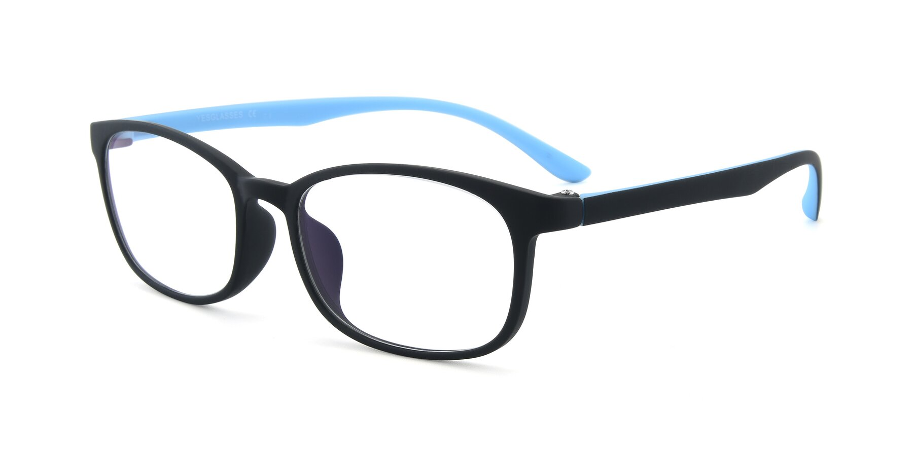 Angle of 9805 in Matte Black-Blue with Clear Eyeglass Lenses