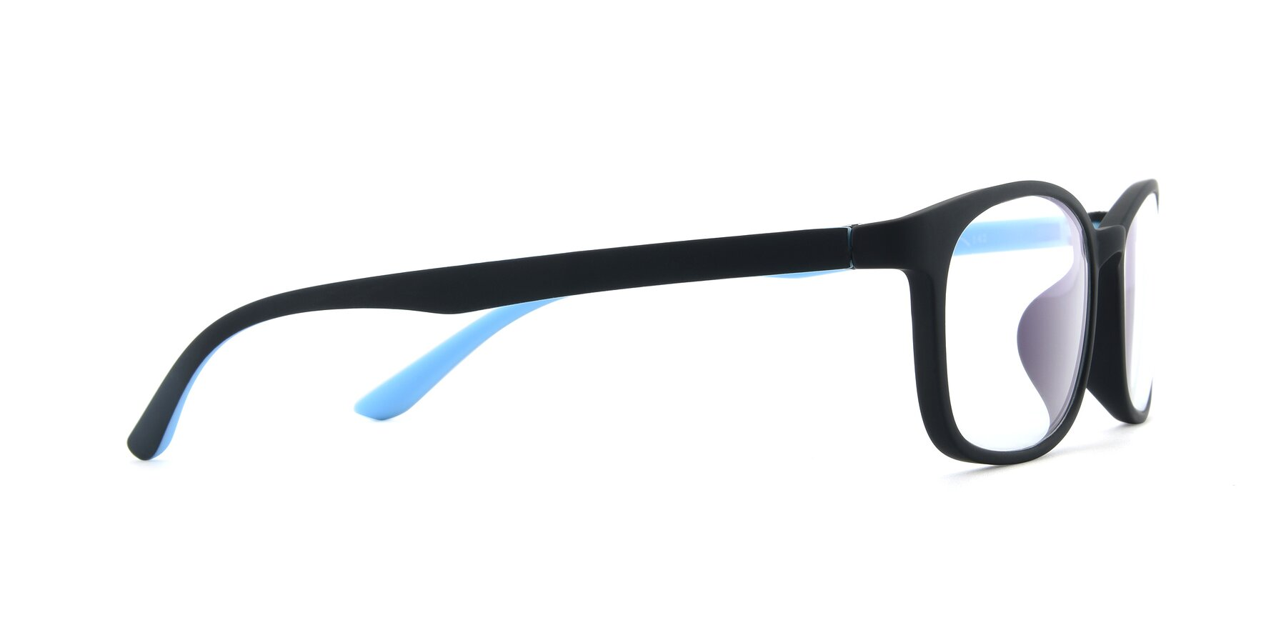 Side of 9805 in Matte Black-Blue with Clear Eyeglass Lenses
