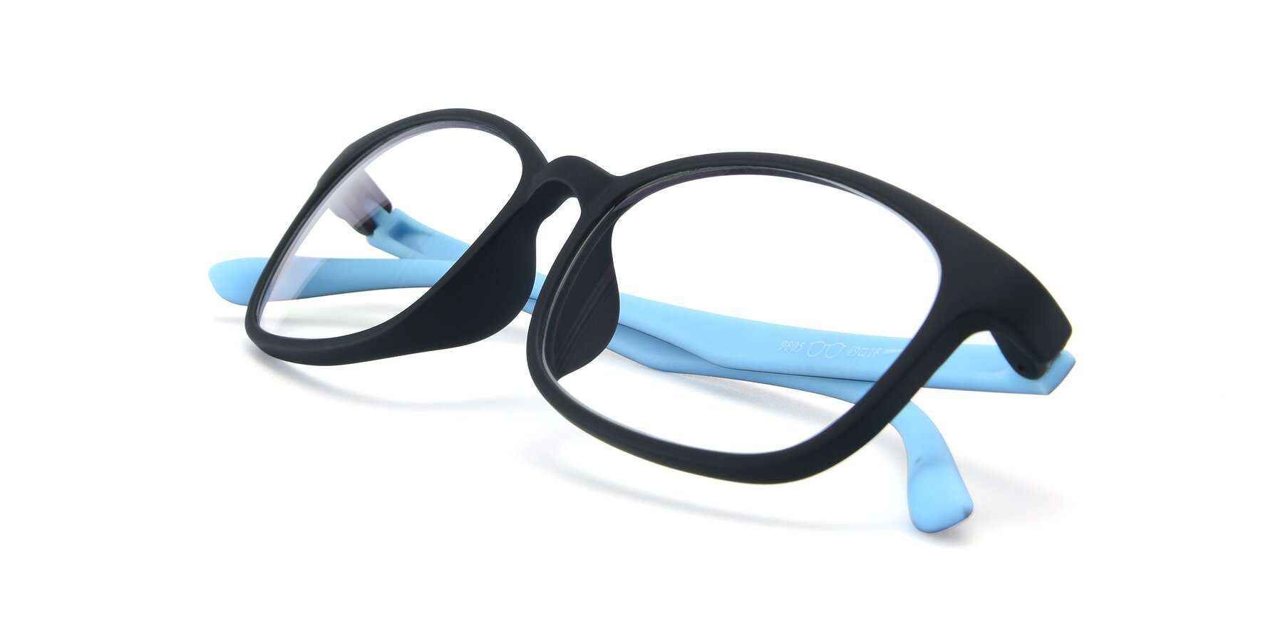 View of 9805 in Matte Black-Blue with Clear Eyeglass Lenses