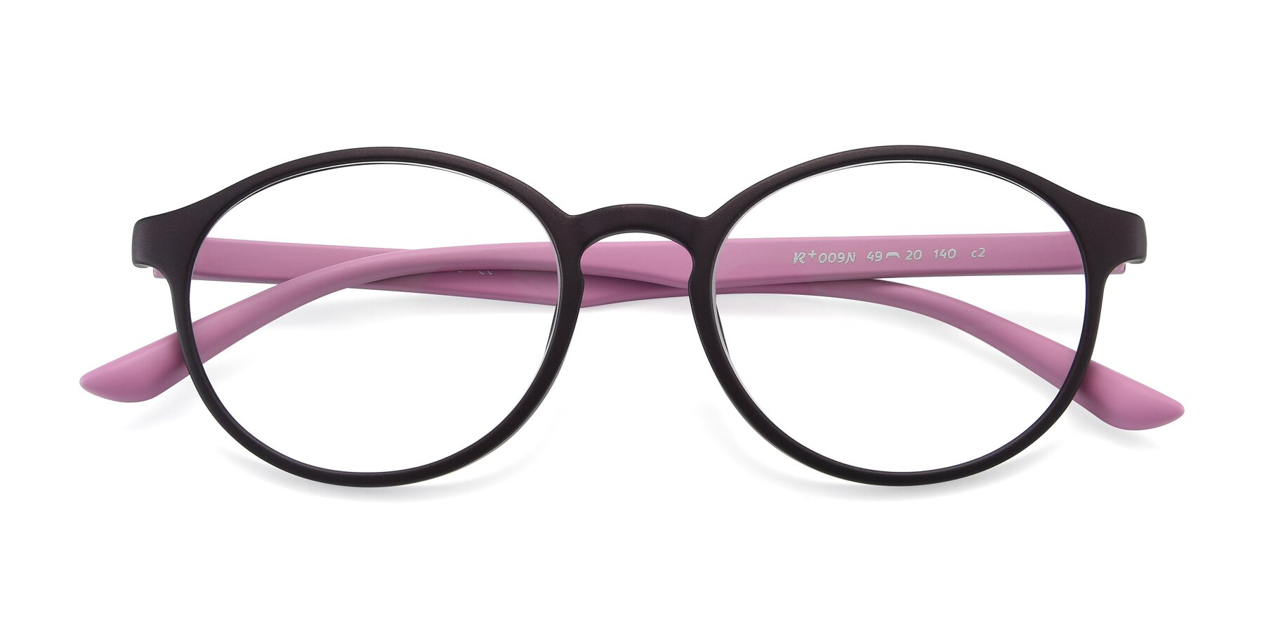Folded Front of R+009N in Matte Coffee-Pink with Clear Eyeglass Lenses