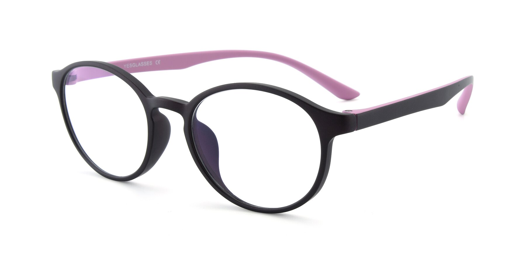 Angle of R+009N in Matte Coffee-Pink with Clear Eyeglass Lenses