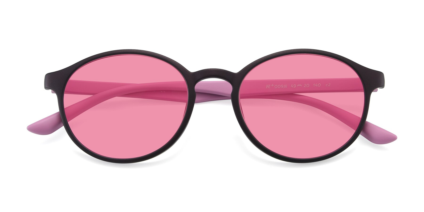 Folded Front of R+009N in Matte Coffee-Pink with Pink Tinted Lenses