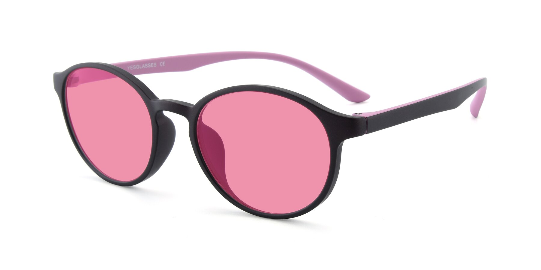 Angle of R+009N in Matte Coffee-Pink with Pink Tinted Lenses