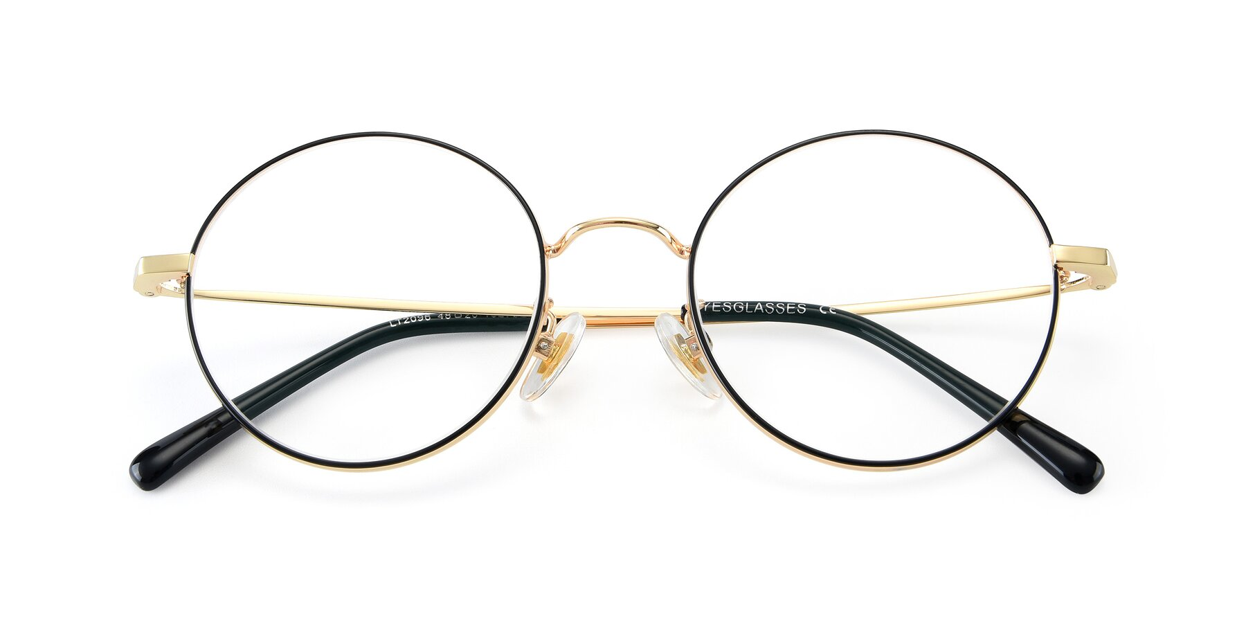 Folded Front of LT2096 in Black-Gold with Clear Eyeglass Lenses