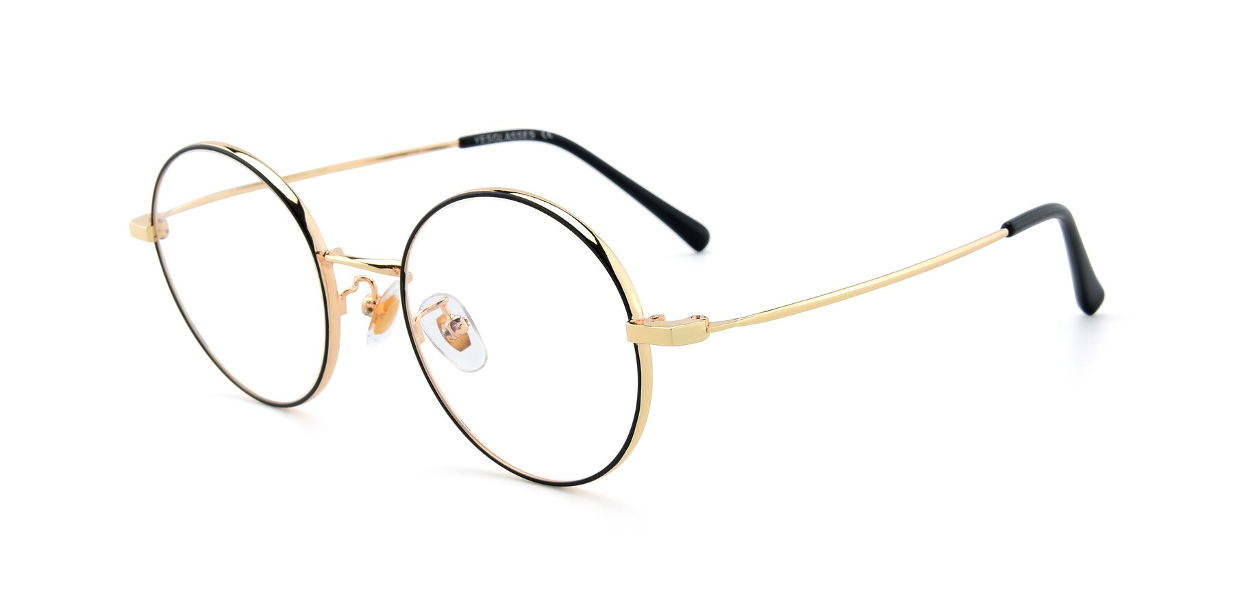 Angle of LT2096 in Black-Gold with Clear Eyeglass Lenses
