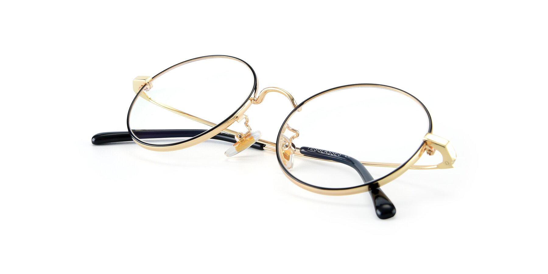 View of LT2096 in Black-Gold with Clear Eyeglass Lenses