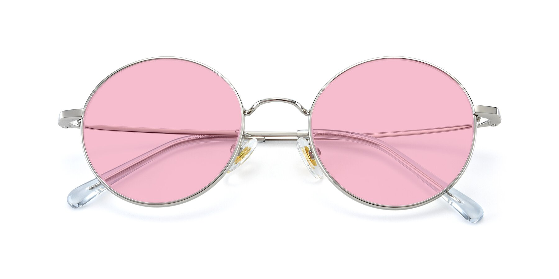 Folded Front of LT2096 in Silver with Medium Pink Tinted Lenses