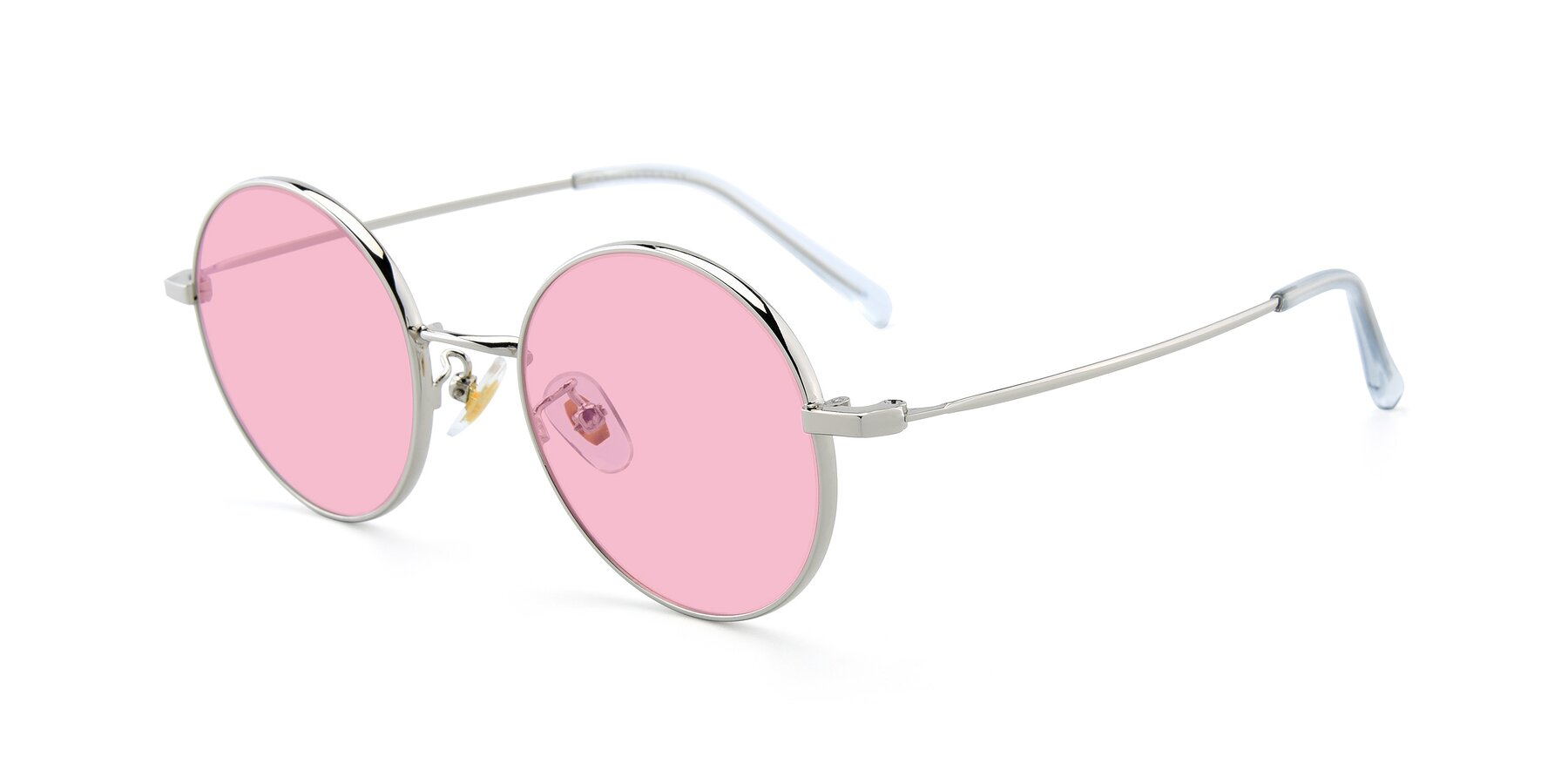 Angle of LT2096 in Silver with Medium Pink Tinted Lenses