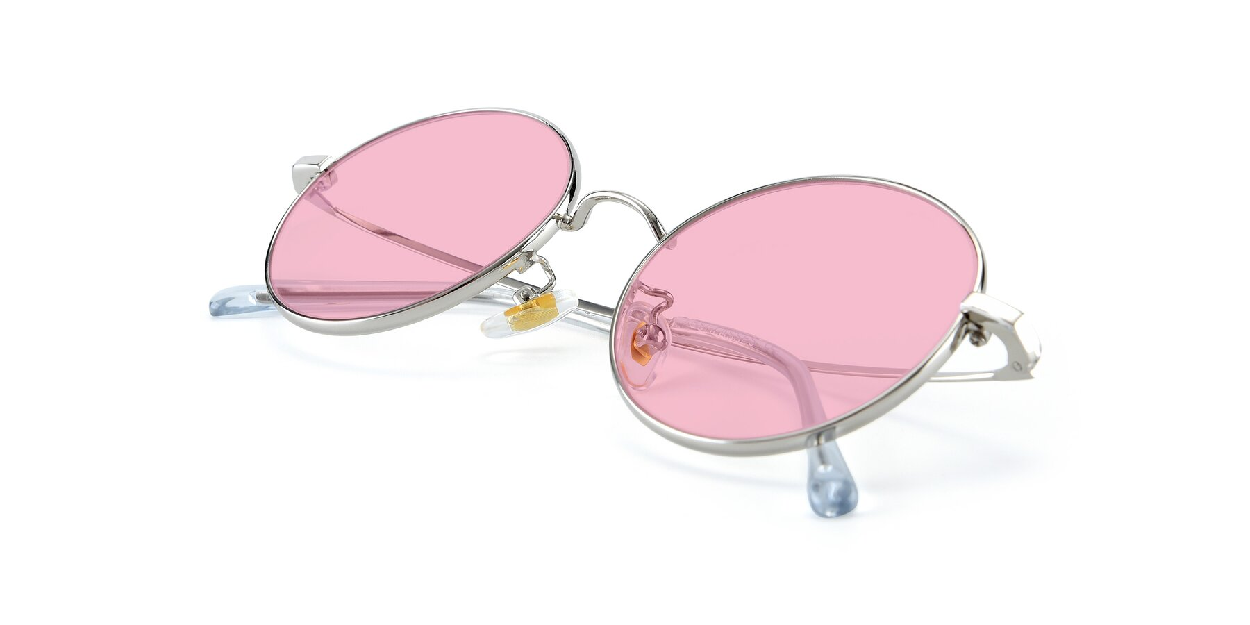 View of LT2096 in Silver with Medium Pink Tinted Lenses
