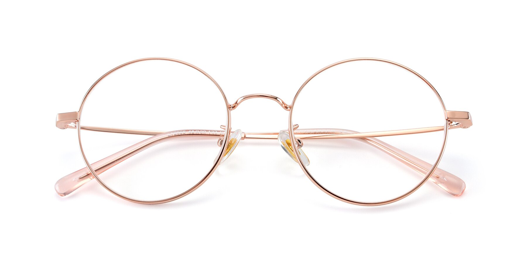 Folded Front of LT2096 in Rose Gold with Clear Eyeglass Lenses