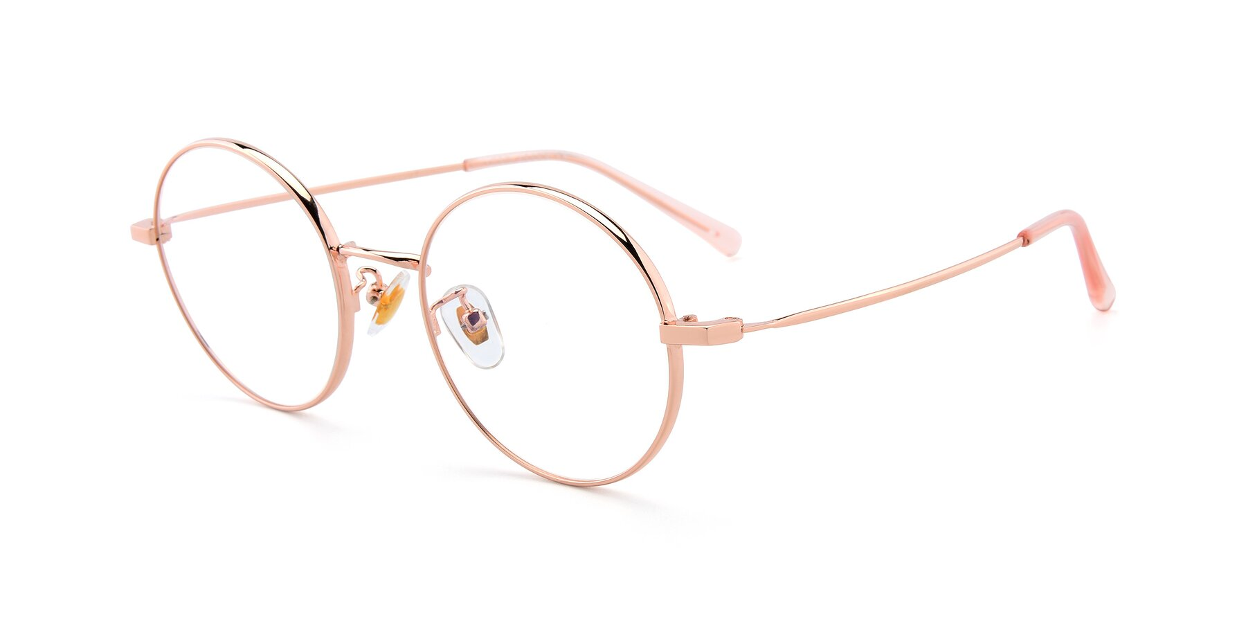 Angle of LT2096 in Rose Gold with Clear Eyeglass Lenses