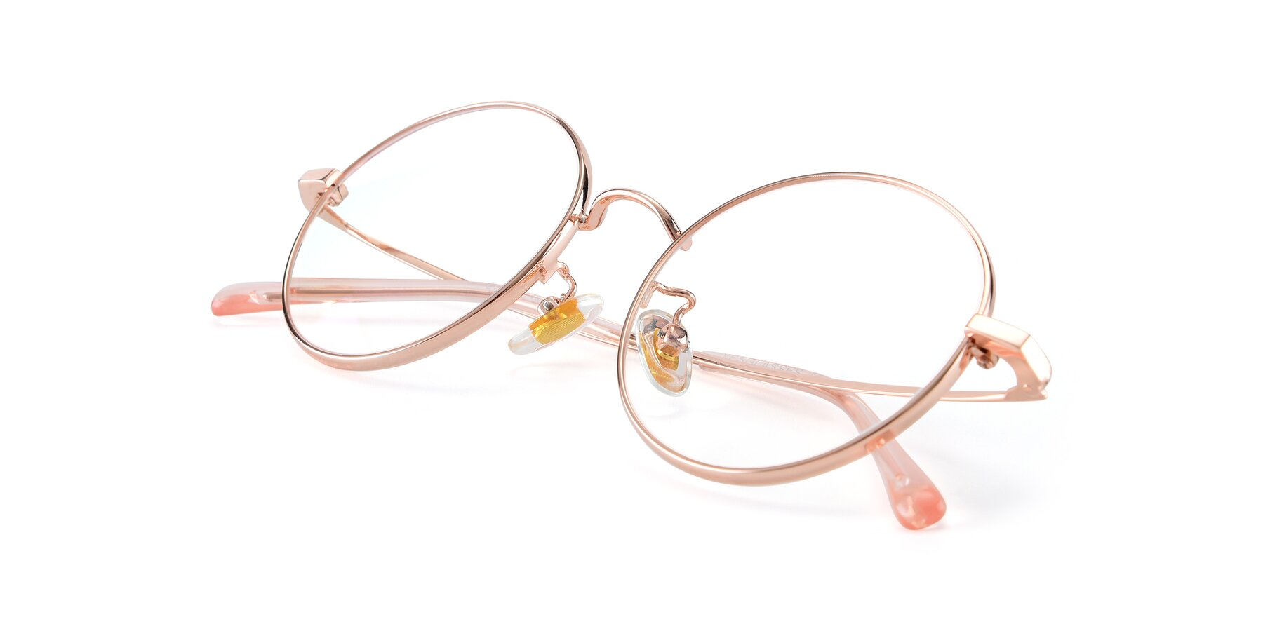 View of LT2096 in Rose Gold with Clear Eyeglass Lenses