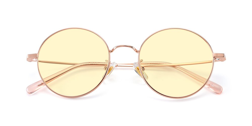 Rose Gold Thin Metal Round Tinted Sunglasses With Light Yellow Sunwear Lenses