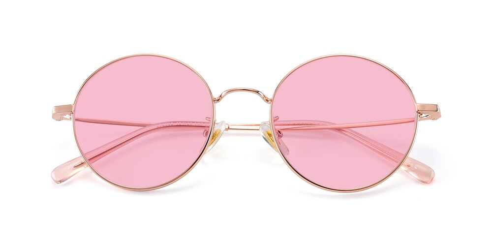Rose Gold Thin Metal Round Tinted Sunglasses With Medium Pink Sunwear Lenses