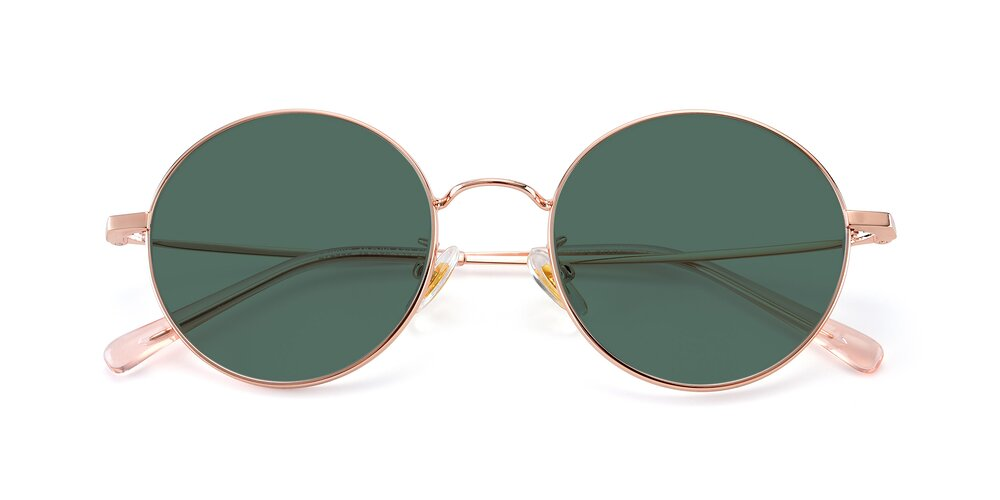 Rose Gold Thin Metal Round Polarized Sunglasses With Green Sunwear Lenses