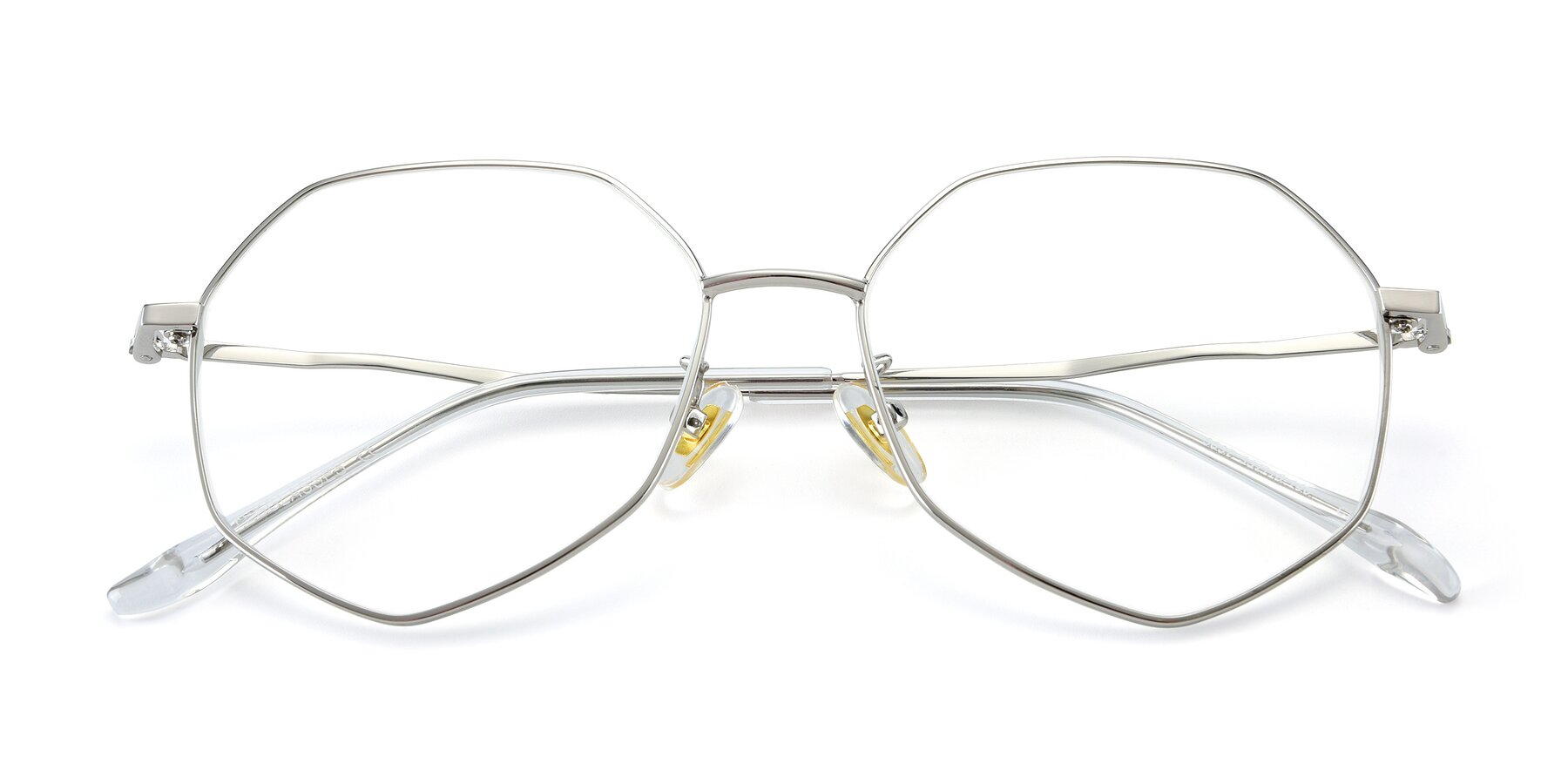 Folded Front of 9897 in Silver with Clear Eyeglass Lenses