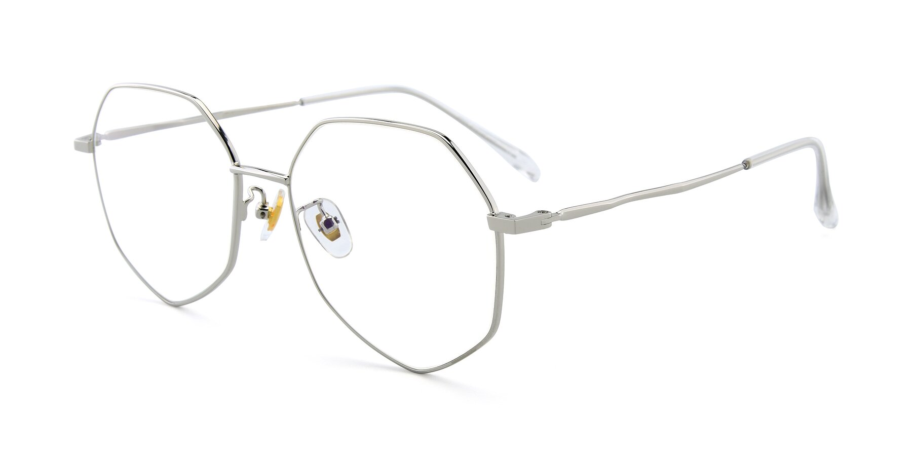 Angle of 9897 in Silver with Clear Eyeglass Lenses