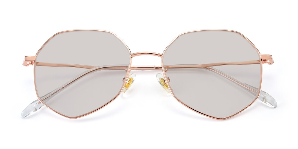 Rose Gold Hipster Aviator Geometric Tinted Sunglasses With Light Brown Sunwear Lenses