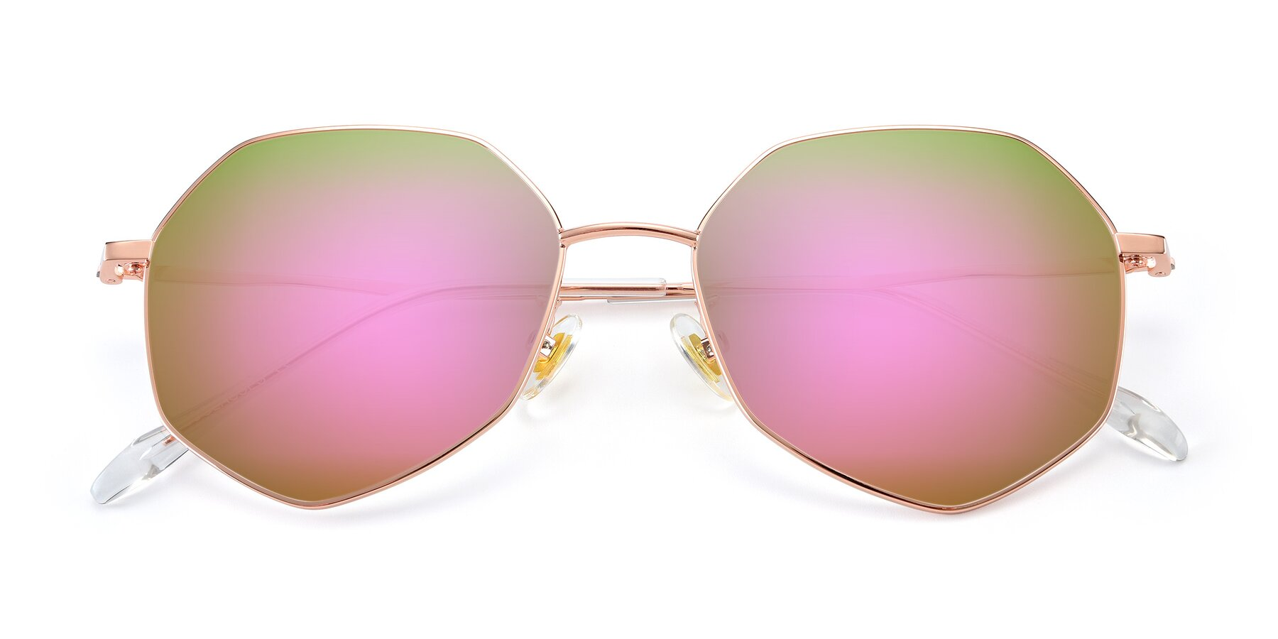 Folded Front of 9897 in Rose Gold with Pink Mirrored Lenses