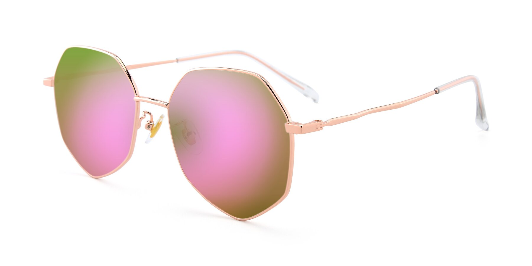Angle of 9897 in Rose Gold with Pink Mirrored Lenses