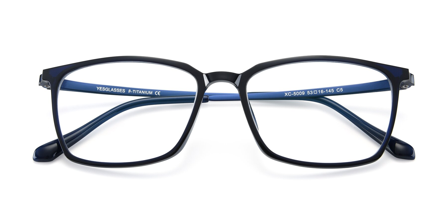 Folded Front of XC-5009 in Blue with Clear Blue Light Blocking Lenses
