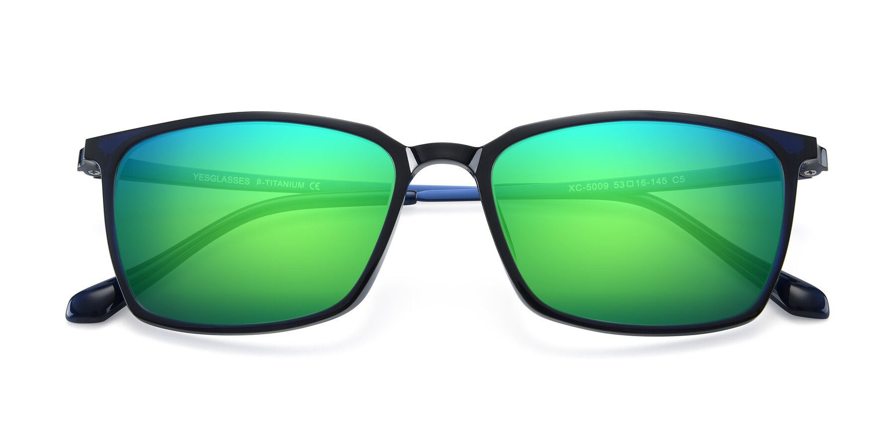 Folded Front of XC-5009 in Blue with Green Mirrored Lenses