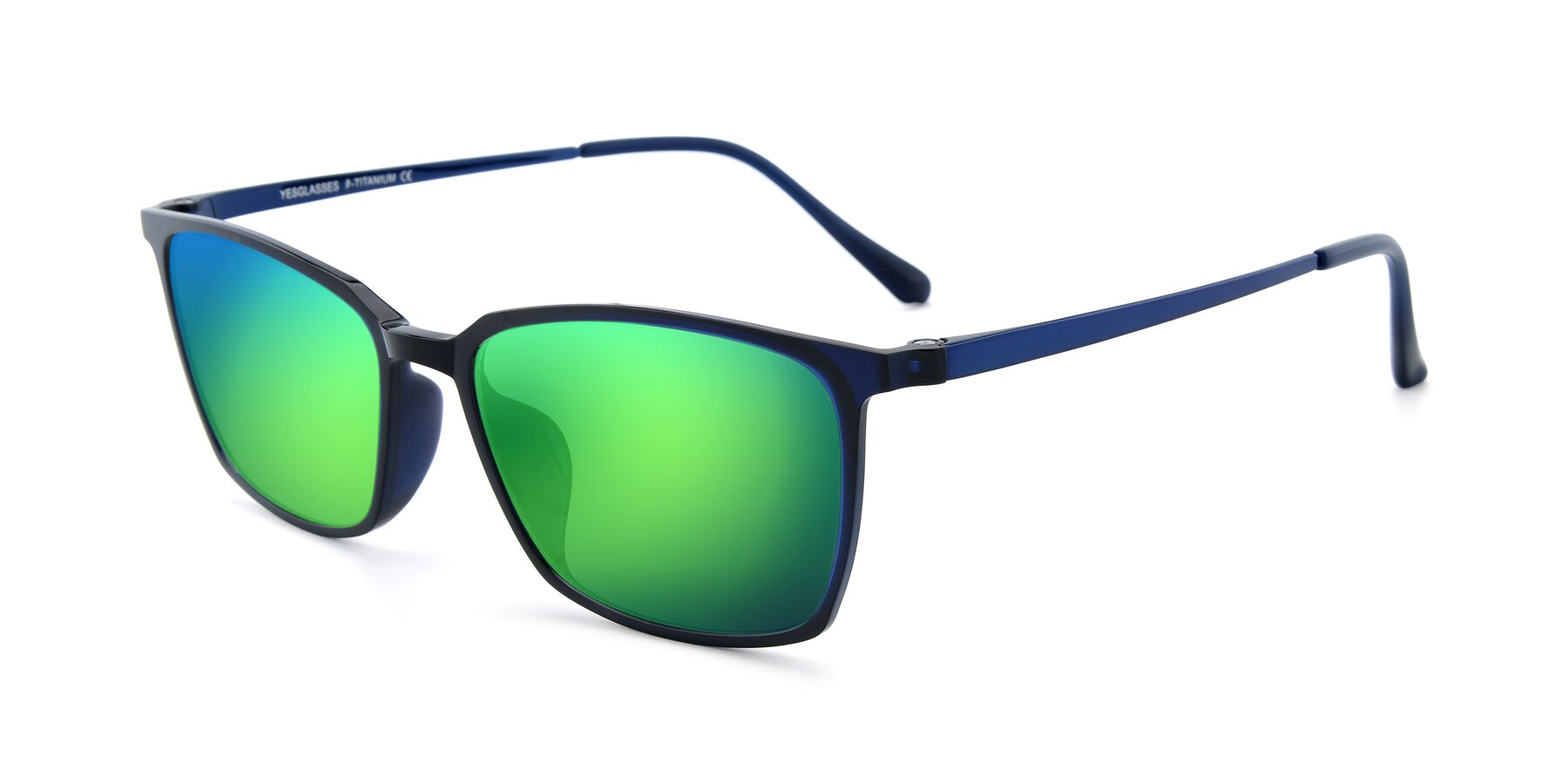 Angle of XC-5009 in Blue with Green Mirrored Lenses
