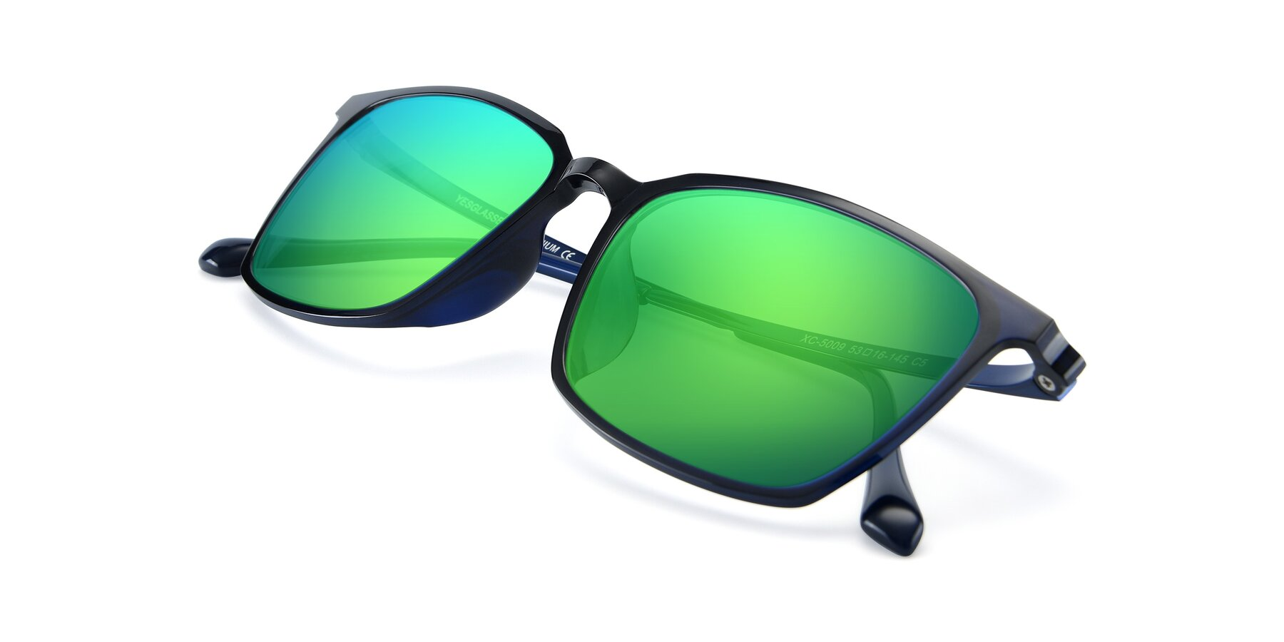 View of XC-5009 in Blue with Green Mirrored Lenses