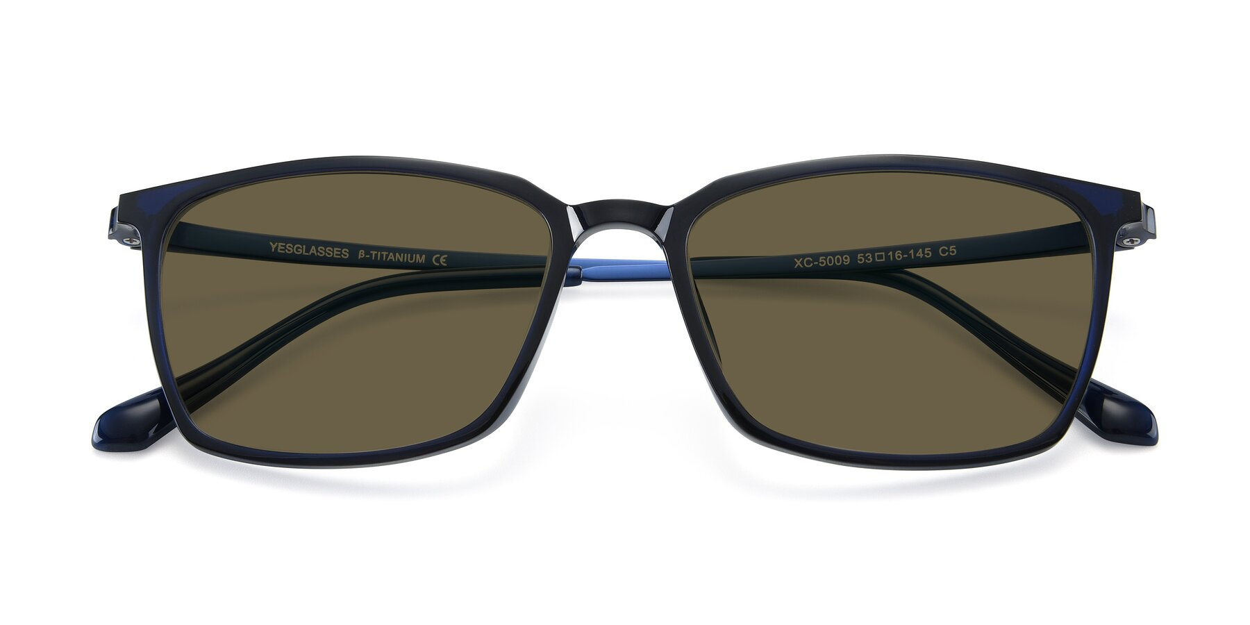 Folded Front of XC-5009 in Blue with Brown Polarized Lenses
