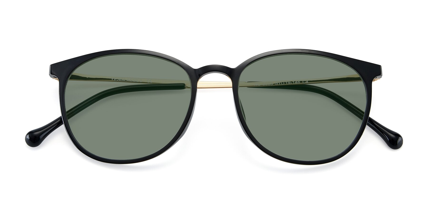 Folded Front of XC-6006 in Black-Gold with Medium Green Tinted Lenses