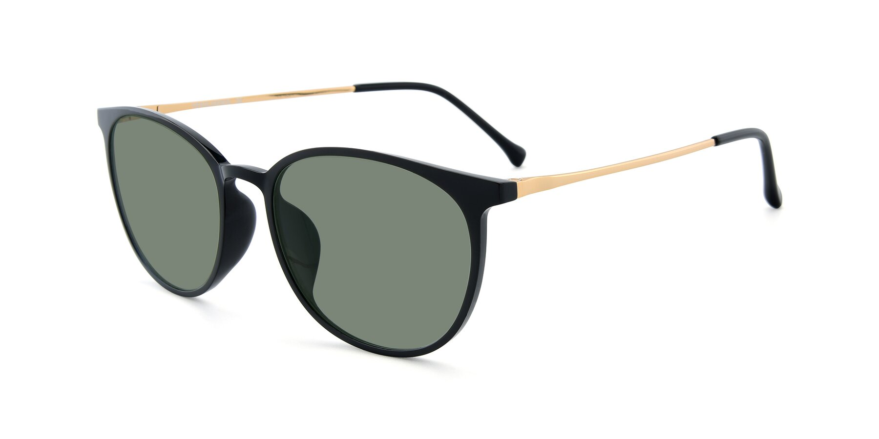 Angle of XC-6006 in Black-Gold with Medium Green Tinted Lenses