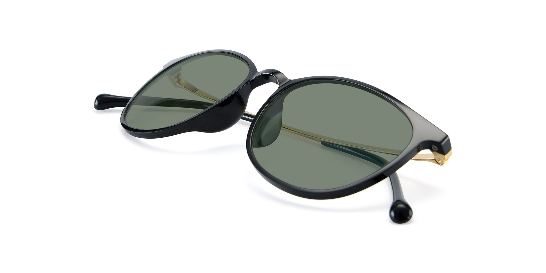 View of XC-6006 in Black-Gold with Medium Green Tinted Lenses
