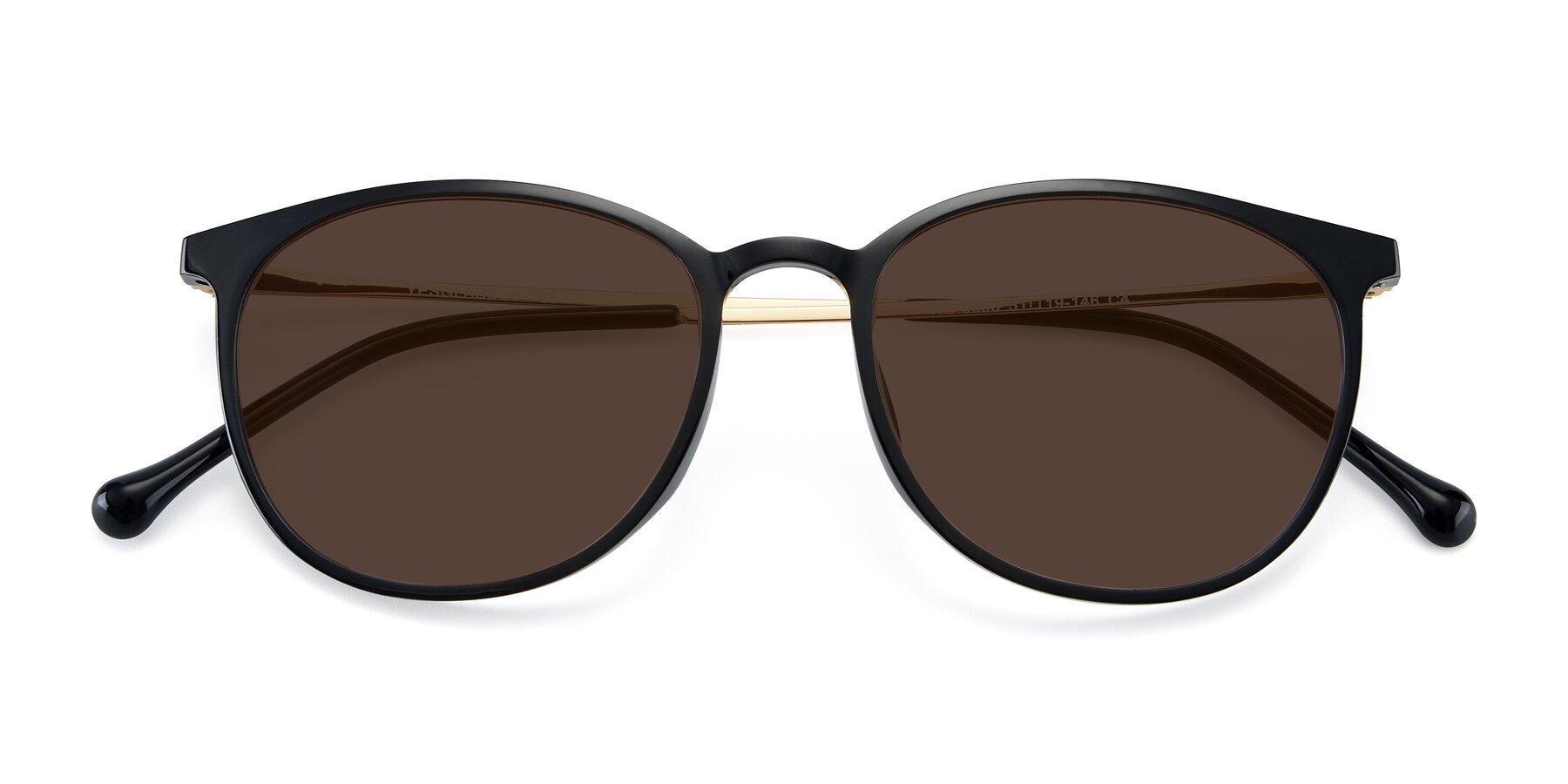 Folded Front of XC-6006 in Black-Gold with Brown Tinted Lenses