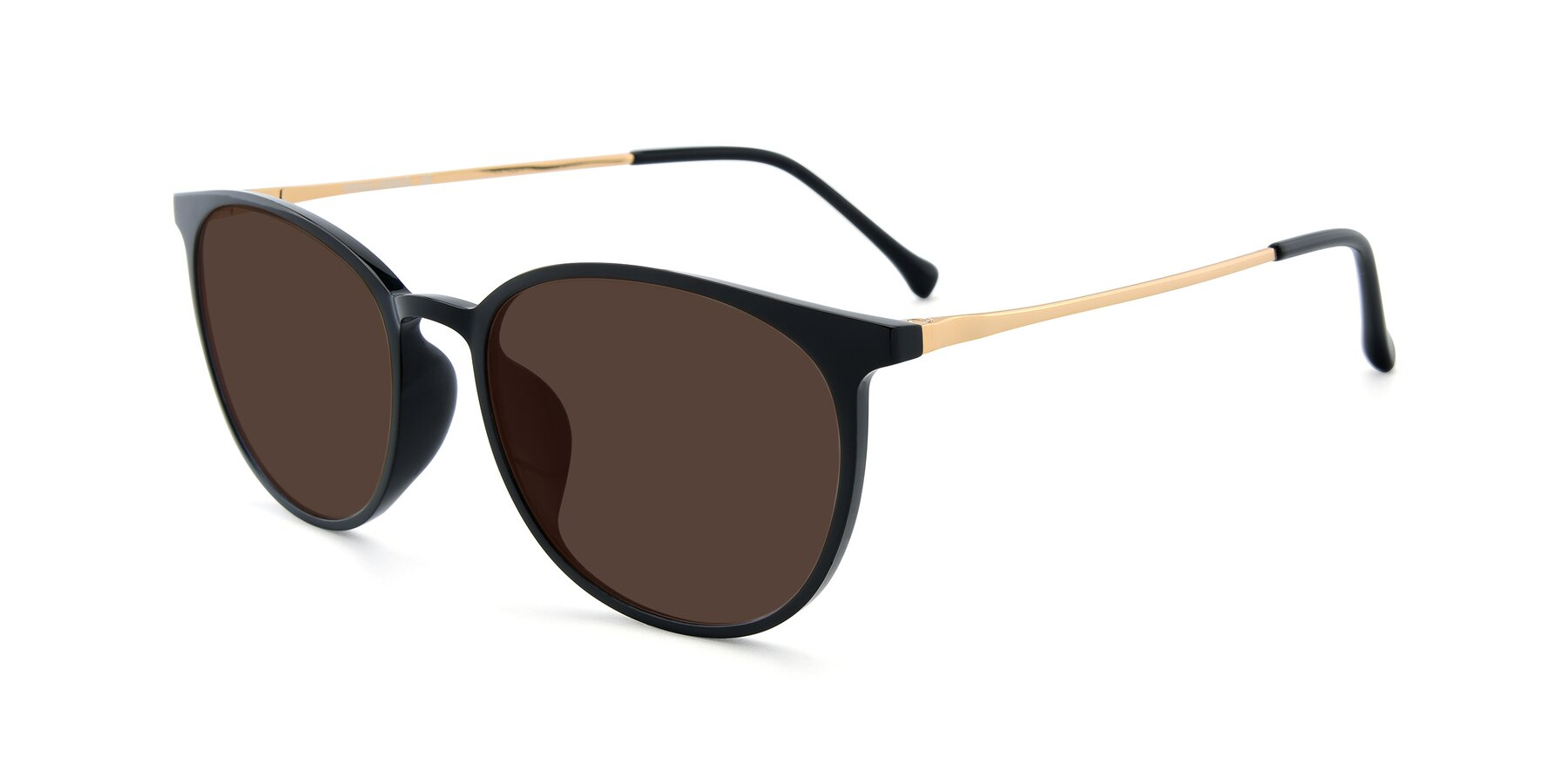 Angle of XC-6006 in Black-Gold with Brown Tinted Lenses