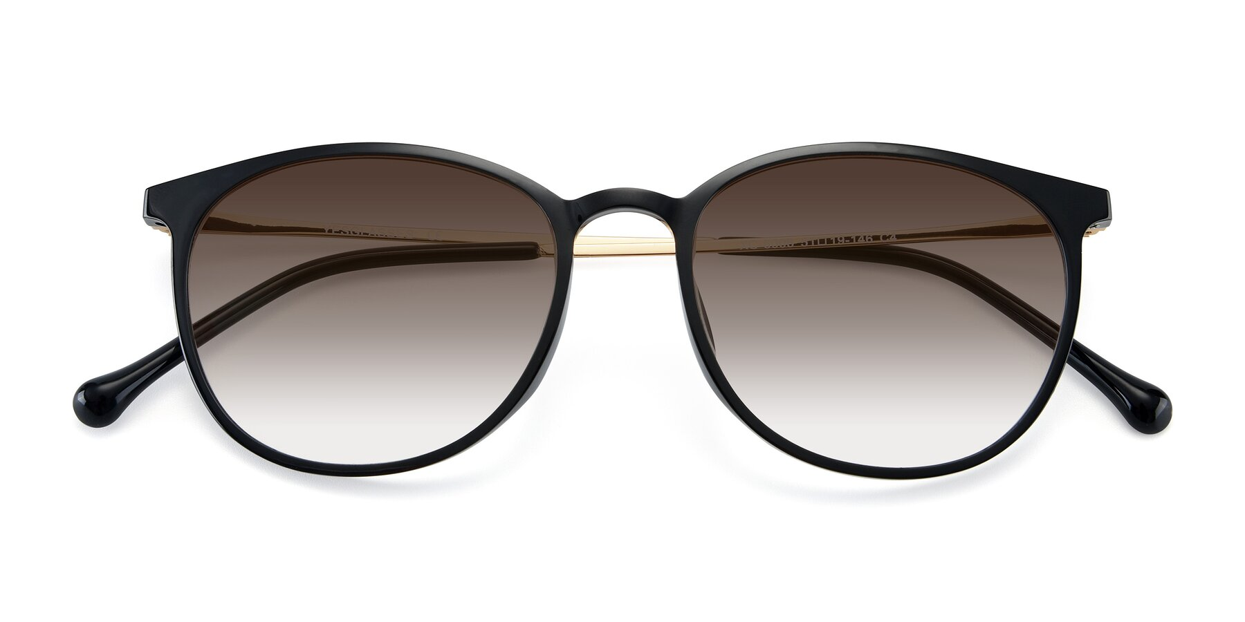 Folded Front of XC-6006 in Black-Gold with Brown Gradient Lenses