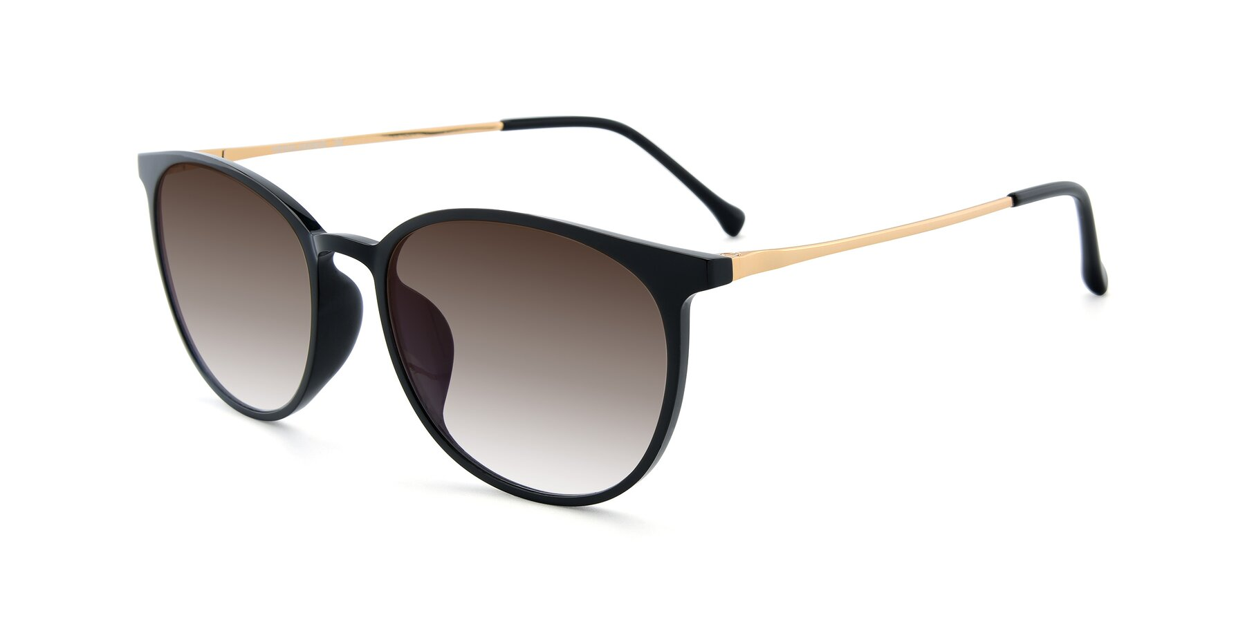 Angle of XC-6006 in Black-Gold with Brown Gradient Lenses