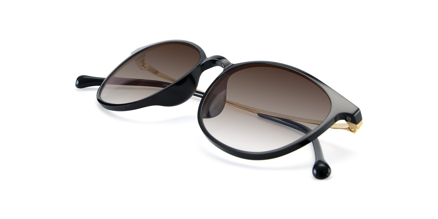 View of XC-6006 in Black-Gold with Brown Gradient Lenses