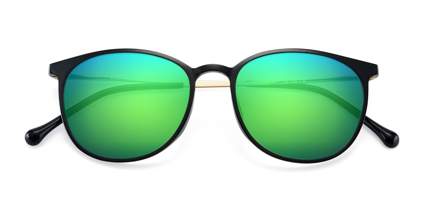 Folded Front of XC-6006 in Black-Gold with Green Mirrored Lenses