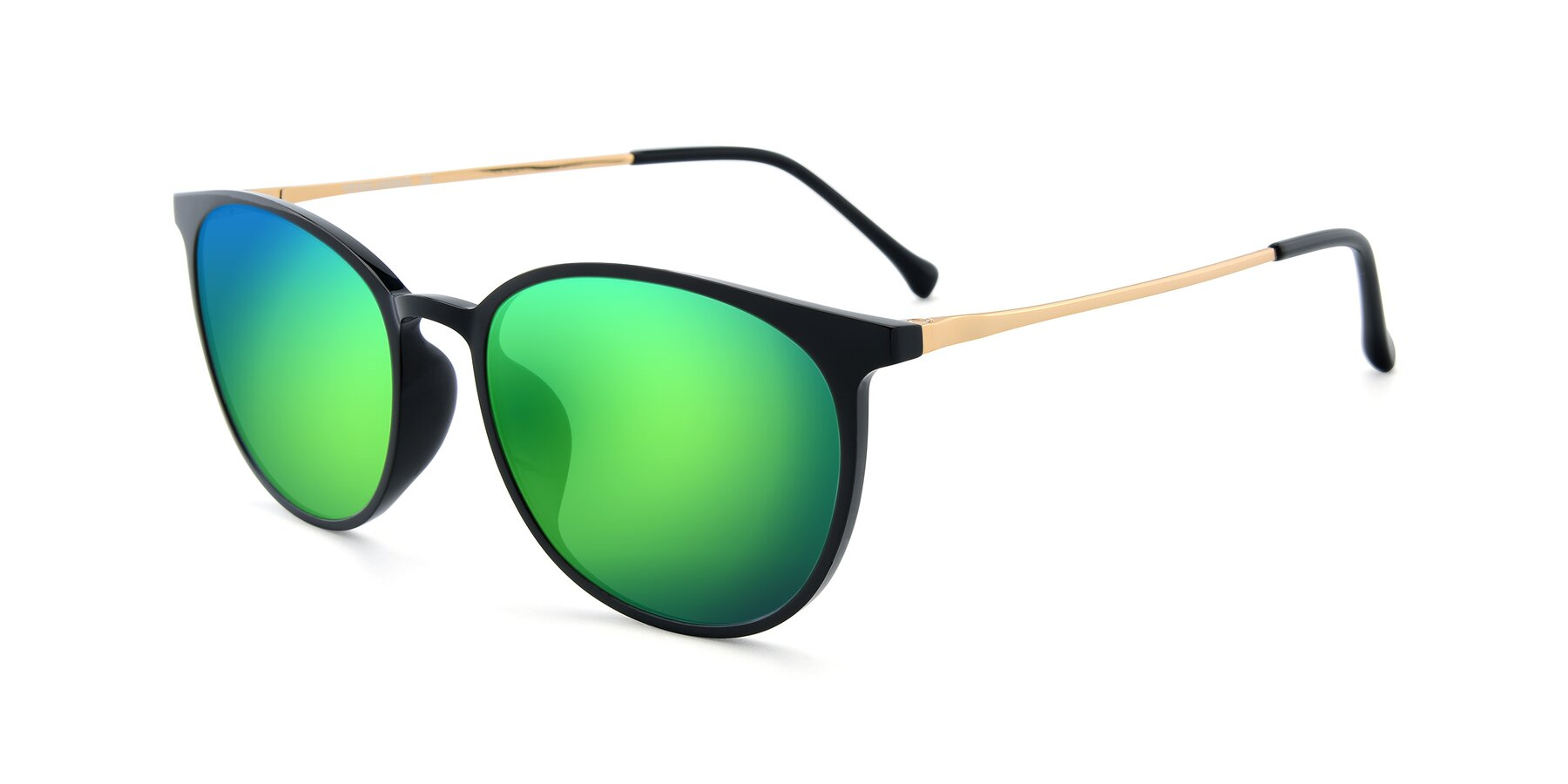 Angle of XC-6006 in Black-Gold with Green Mirrored Lenses