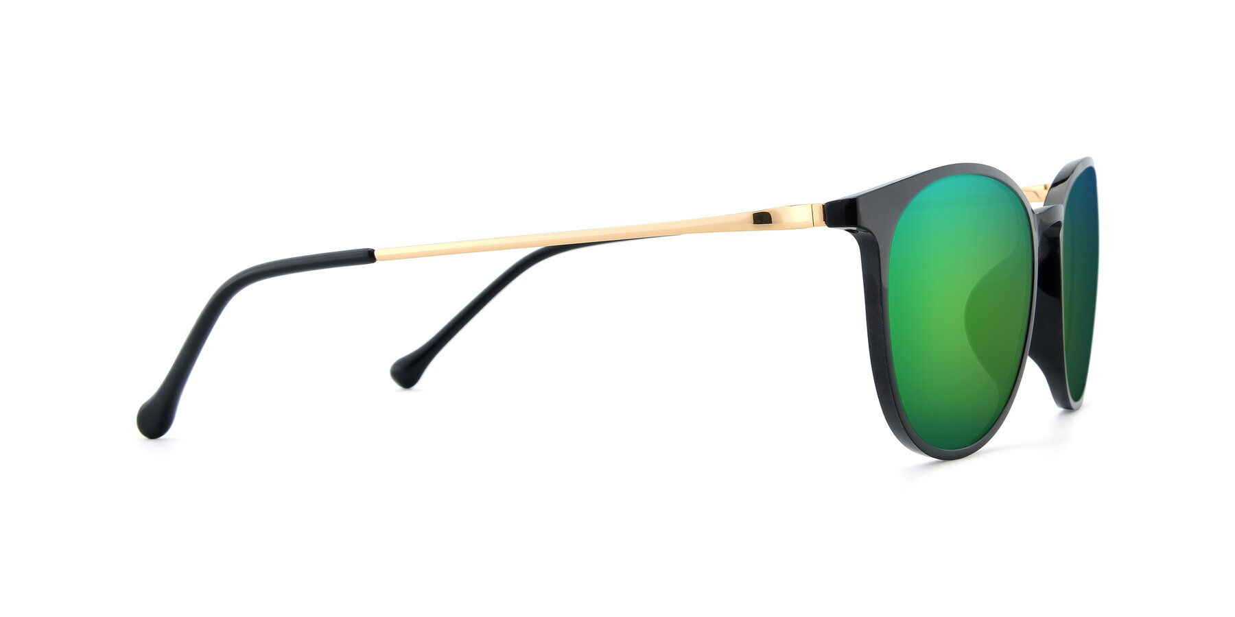 Side of XC-6006 in Black-Gold with Green Mirrored Lenses