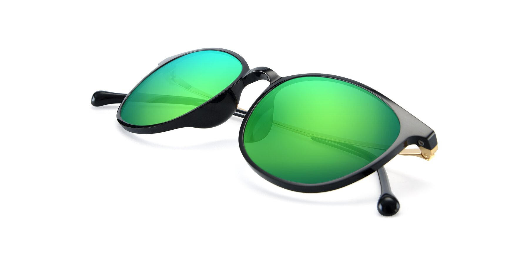 View of XC-6006 in Black-Gold with Green Mirrored Lenses