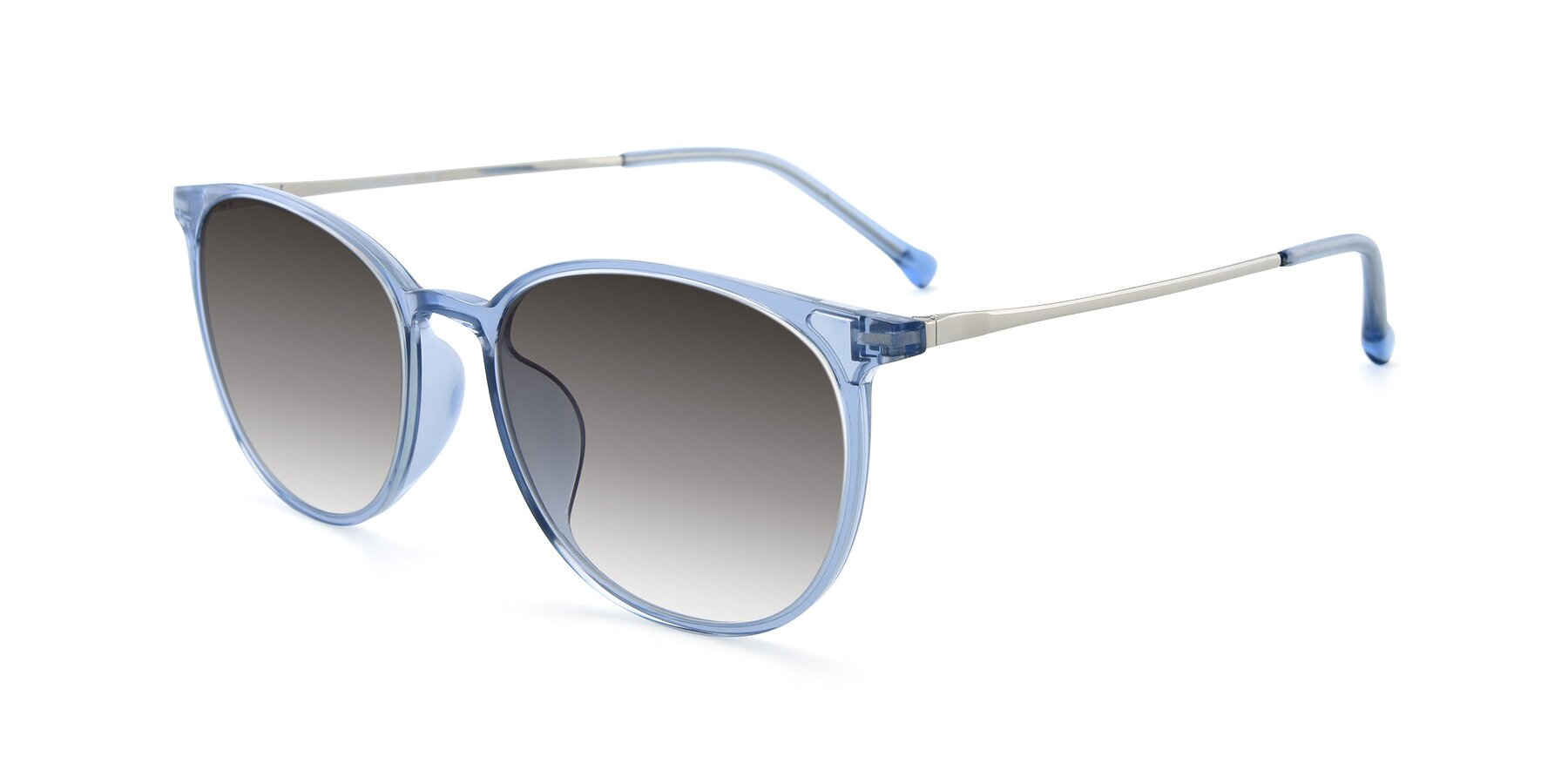 Angle of XC-6006 in Blue Amber-Silver with Gray Gradient Lenses