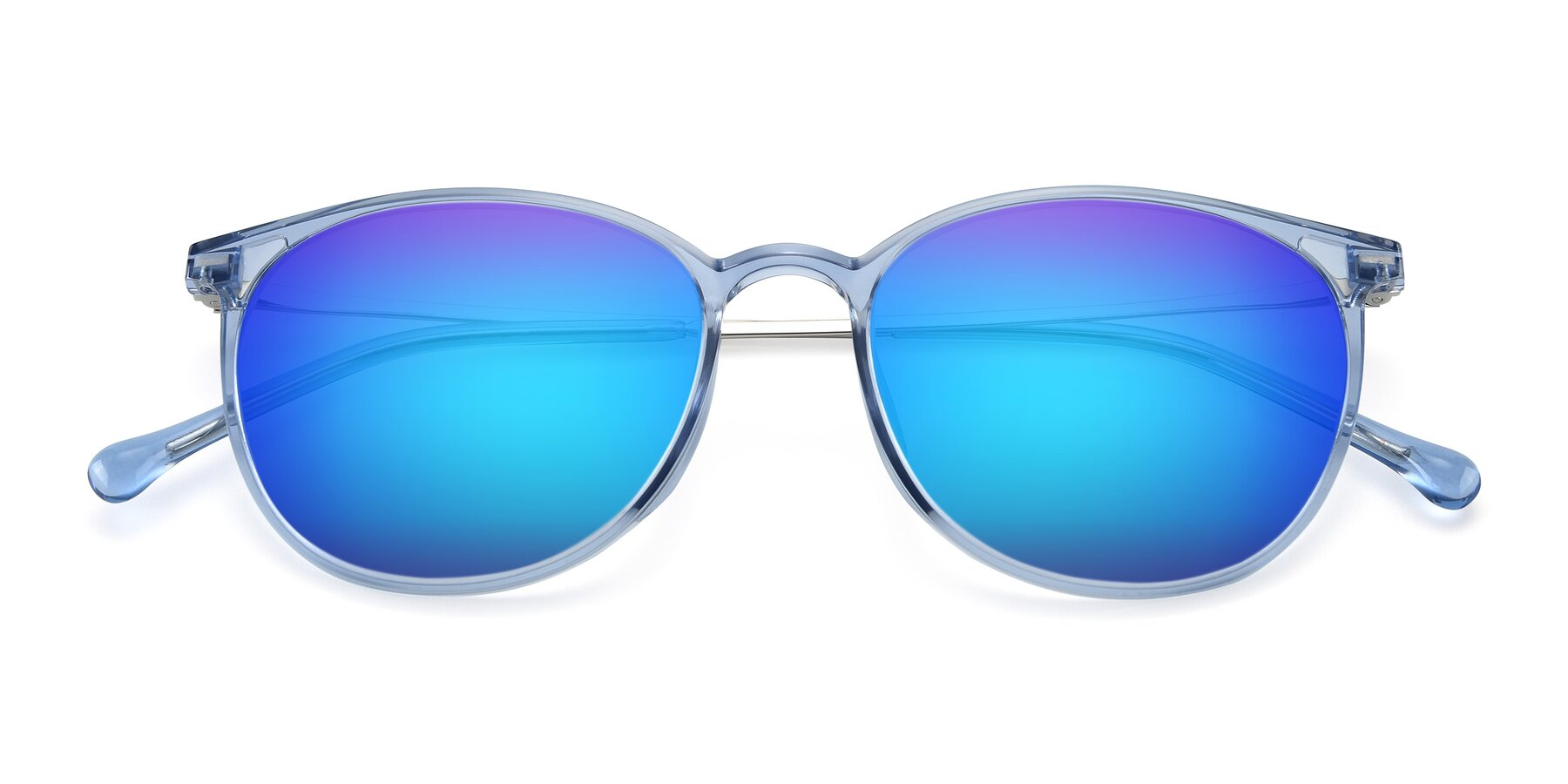 Folded Front of XC-6006 in Blue Amber-Silver with Blue Mirrored Lenses