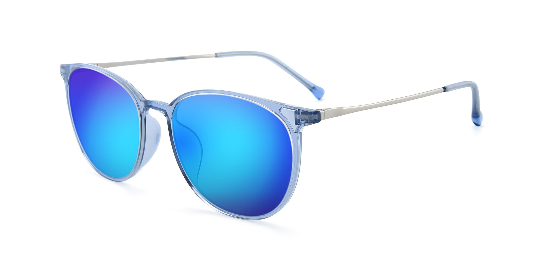 Angle of XC-6006 in Blue Amber-Silver with Blue Mirrored Lenses