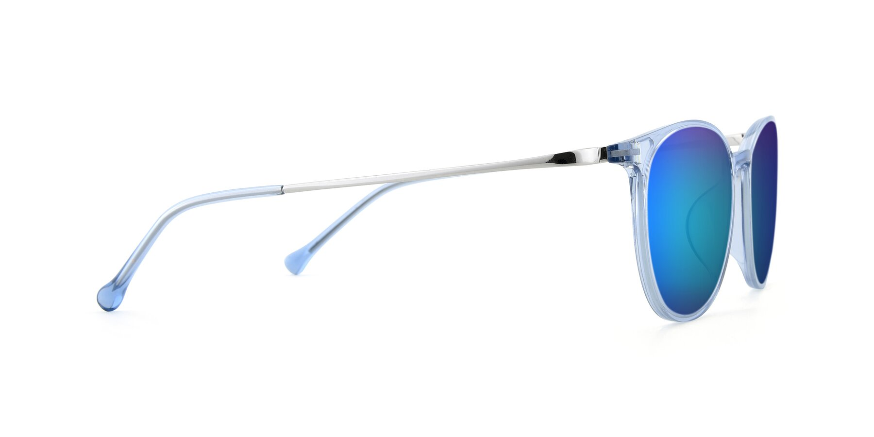 Side of XC-6006 in Blue Amber-Silver with Blue Mirrored Lenses
