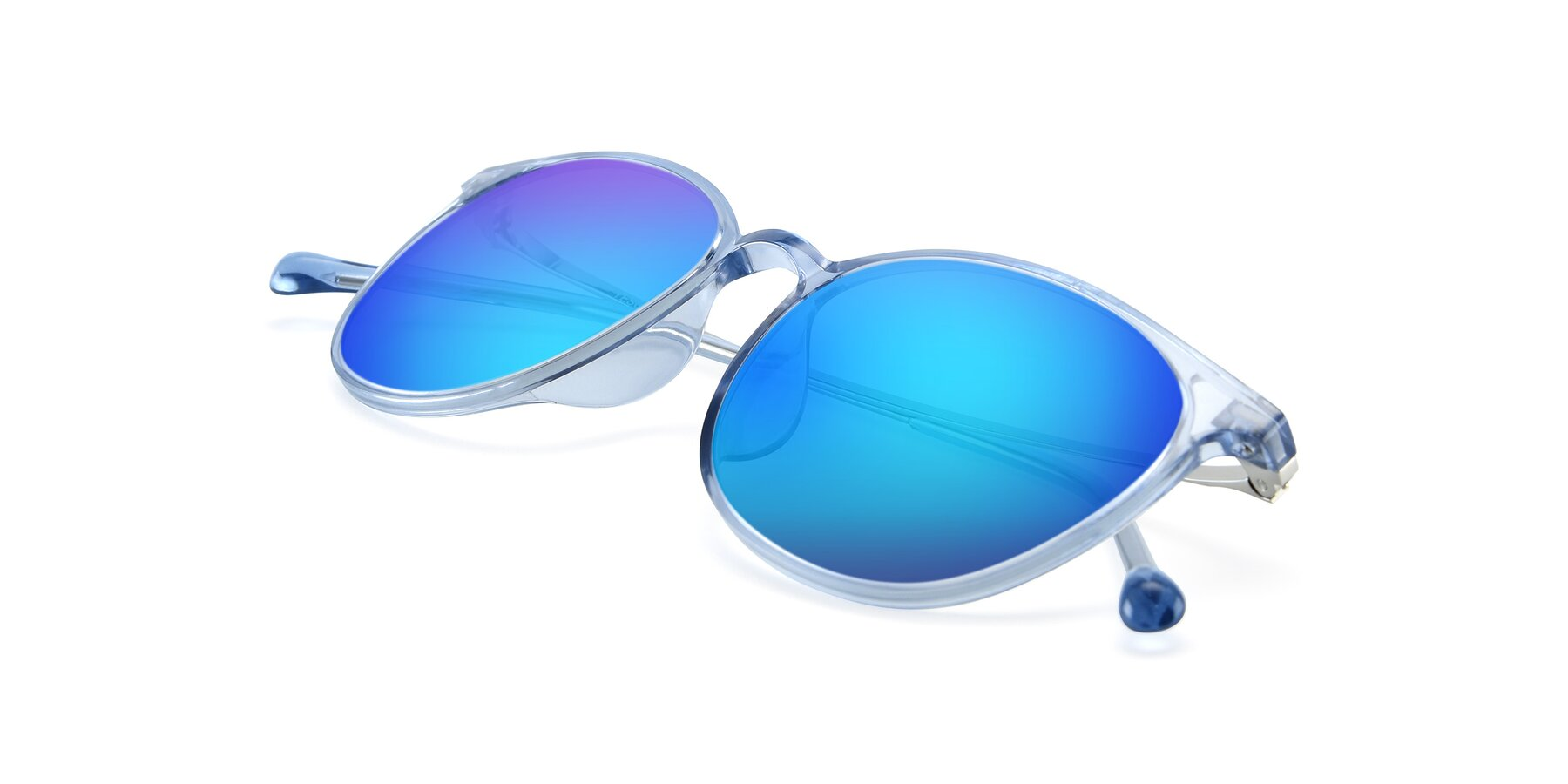 View of XC-6006 in Blue Amber-Silver with Blue Mirrored Lenses