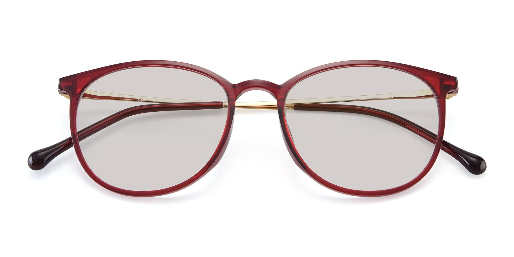 Folded Front of XC-6006 in Wine-Gold with Light Brown Tinted Lenses